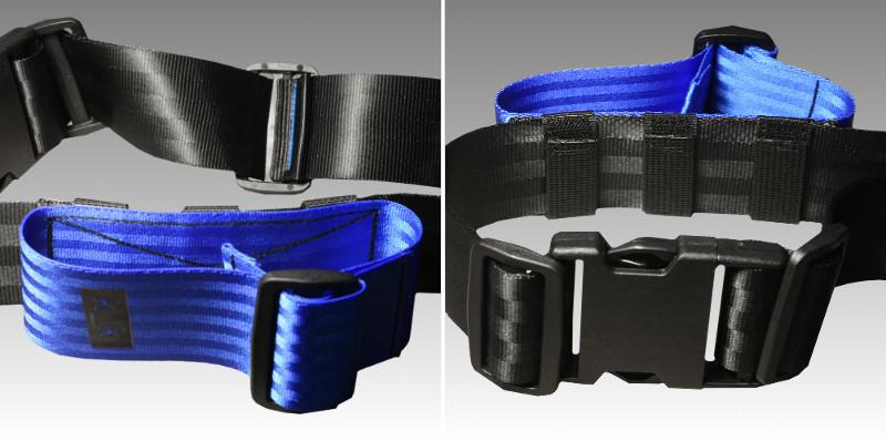 schwarz / königsblau / Schlaufengürtel.